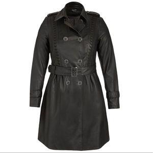 City Chic Trench Coat Sz XS 14 Black Vinyl Weave